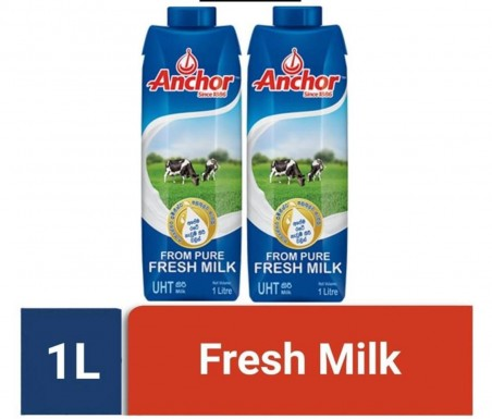 Anchor Fresh Milk 1L (Pack of 2 Boxes, total 2L)